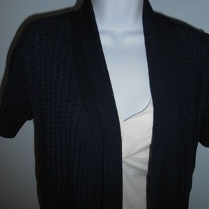 Fred David SS Cardigan Navy White Sweater NWT PS